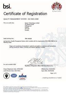 ISO 9001 Quality Management System - Sensor Technology Ltd. Registration Certificate - Thumbnail