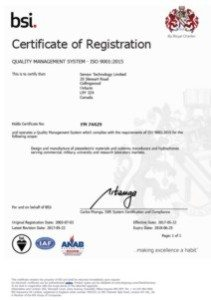 Thumbnail image of the ISO 9001:2015 Quality Management System Registration Certificate for Sensor Technology Ltd.